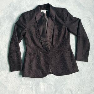 Black floral pattern blazer